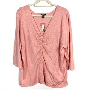 Apt. 9 Beaded Ruched V-Neck Thin Knit Sweater NWT